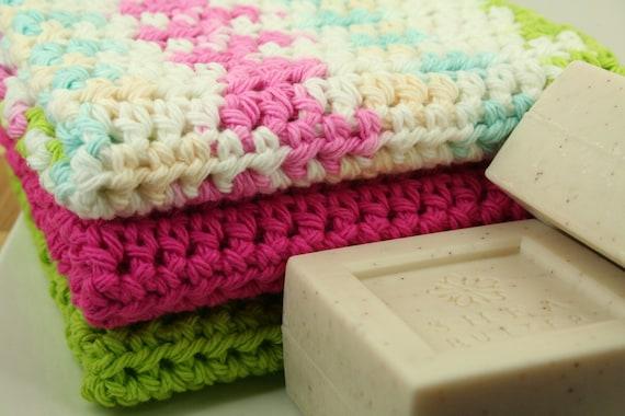 CLEARANCE SALE - Washcloth Set of 3 - Scrubber, Wash Cloth, Shower, Bathroom, Eco-Friendly - OOAK Ready To Ship - Handmade & Crocheted