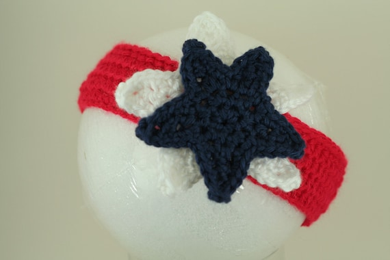 CLEARANCE SALE - Stacked Star Headband - America Patriotic- Red/White/Blue/Navy Toddlers 1-3 Years - Ready To Ship Handmade & Crocheted