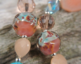 Peach on the Beach-Quartz and Lampwork necklace