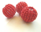 Woven Jewelry Beads, Woven glass beads, Red Matte Glass handmade beads, set of 3
