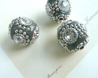 BoHo Jewelry Beads, Indonesia Rhinestone Beads, Gray 20 mm