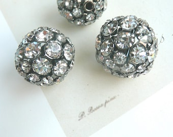 Rhinestone Fireball Beads, Large Rhinestone beads 3/4 inch diameter, john wind type beads, 6 pcs