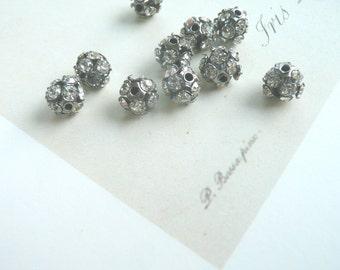 Rhinestone Fireball Beads, small Rhinestone beads, john wind type beads, special listing 25 beads