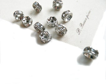 Rhinestone Spacer Bead, Clear Rhinestone bead, spacer beads, 20 pcs