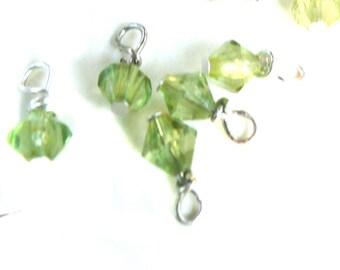 Czech Jewelry Beads, crystal charm, peridot green, 10 beads