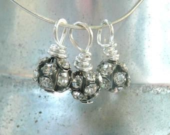 rhinestone fireball charms, Hand wrapped rhinestone dangle beads, 3 beads