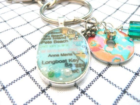 Map Key Chain,  Map Pendant ,  bead jangle keychain anniversary gift