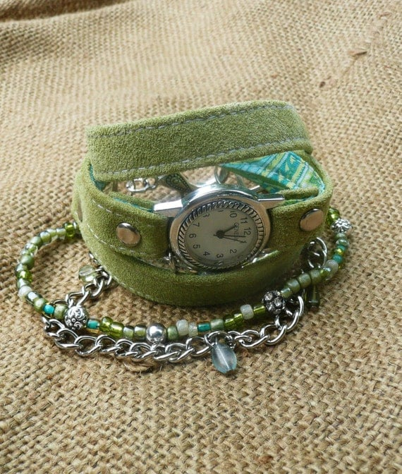 Leather wrap watch, lime green suede wrap watch