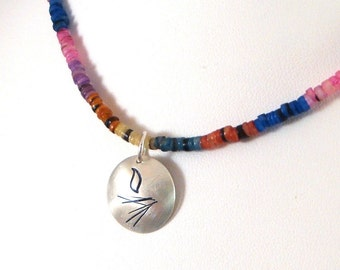 Bright Heishi Bead Necklace with UU Chalice Pendant
