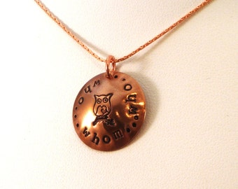 Who Who Whom Owl Copper Hand Stamped Necklace