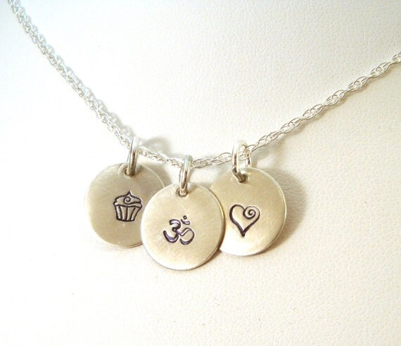 Eat Pray Love Charm Necklace - Hand Stamped in Sterling Silver