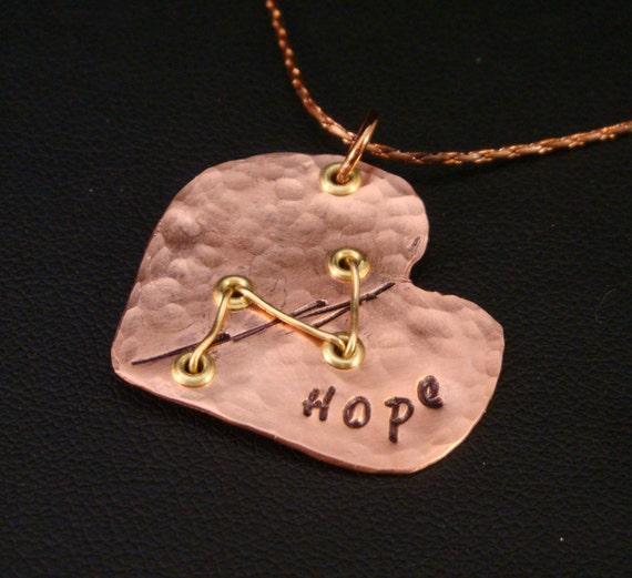 Hope Heart in Copper for CHD Awareness