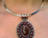 Raspberry Muscovite Necklace, Gemstone Beadwoven Pendant with Neckwire, by C Jewel Creations