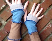 Blue & Beige Arm Warmers SweaterTherapy FREE SHIPPING