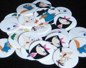 phineas and ferb bottle cap images PRE-CUT 1inch circles