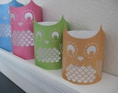 Set of 4 Paper Owl Luminaries - Assorted Heights