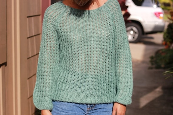 vintage knit turquoise sweater
