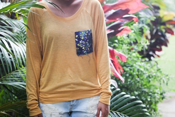 batik pocket mustard top