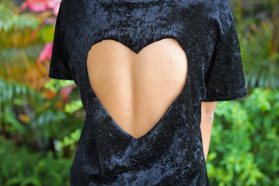 velour heart cut out top