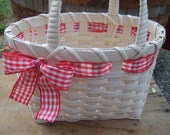 Little White Lunch Tote - with red checkered ribbon-  Handwoven  basket-