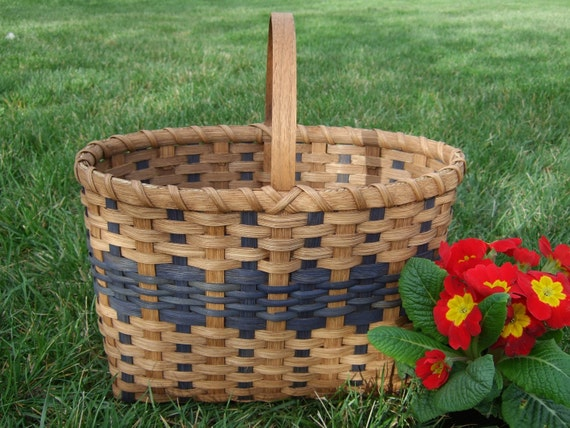 The Car Tote Basket  -  Handwoven in Blue -