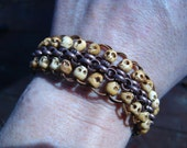 Unique Skull Beaded Afterburn Bracelet - Mini carved bone skulls and copper chain
