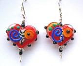 Red Heart Bead Whimsical Lampwork Glass Earrings