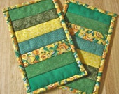 Quilted Mug Rugs: Green & Yellow Stripes (Set of 2)