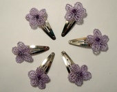 6 Shimmering Lavender French Beaded Flowers Glass Hair Clips.