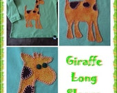 Hand stitched Giraffe applique on a long sleeve top