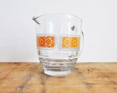 Vintage pitcher and glasses - Orange Flower print  - 1970's