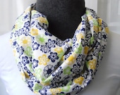 Infinity Scarf Navy, Yellow & Lime Bold Mod Floral Print Lightweight Cotton