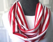 LAST ONE - Hello Sailor Red & White Stripe Jersey Infinity Scarf