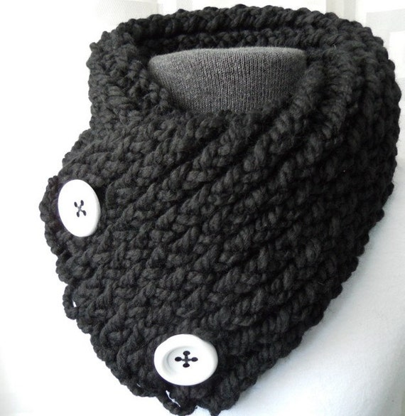 Short Scarf with Buttons, Black Scarflette with White Buttons, Knit Scarf Winter