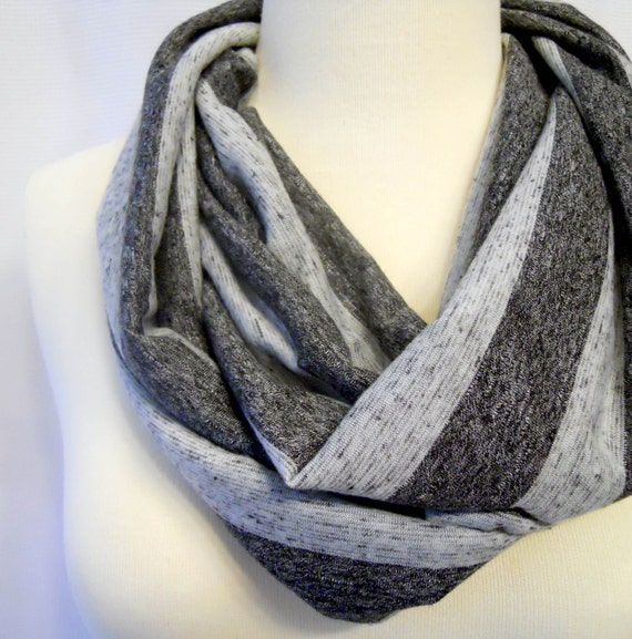 Jersey Infinity Scarf Two Tone Gray Stripe - Loop Scarf - Eternity Scarf - Circle Scarf
