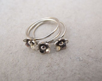 Flower Stacking Ring Set Of 3 Sterling Silver Band