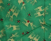Green and gold cotton reindeer fabric, 2 yards