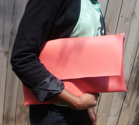 Peachy P. Pink Faux Leather Rectangular Oversized Clutch