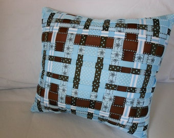 Blue and Brown, Woven Decorative Ribbon Pillow (Grosgrain Ribbons- Stripes, Polka Dots, Florals) -Bedroom/ Livingroom Decor