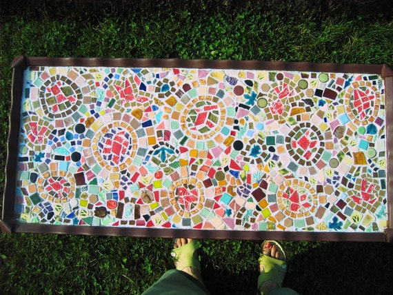 Handmade mosaic coffee table of vintage style
