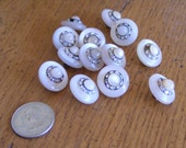 Antique pink buttons with rhinestone and faux pearl accents-Unique