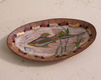 Copper Krelage Holland Bowl/Ashtray-Hand Painted with Fish