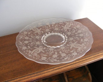 Etched Crystal Cake Plate