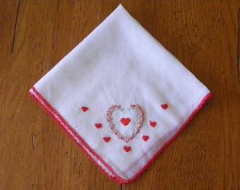 Vintage Handkerchief Embroidered with Red and PInk Hearts