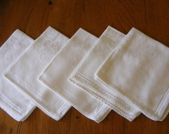 Vintage Napkins-Set of Five-Mums-Flowers