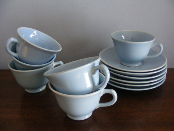 Set of 6 Windsor Blue LuRay Pastels Cups and Saucers