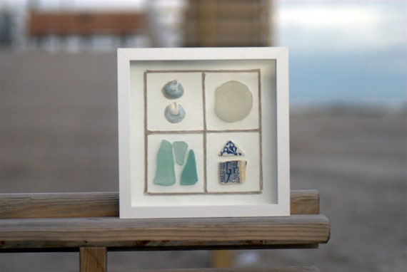 Cottage or Beach Decor   Recycled Pottery, Beach Glass And Shell Wall Hanging