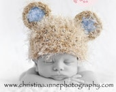 It's a Boy Knit Baby Bear Newborn Beanie Hat with Blue Ears for Infant Photography