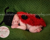 NEW Crocheted Newborn Lady Bug Hat and Snug Rug Back Cover for Infant Portraiture