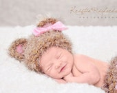 It's a Girl Crocheted Baby Bear Newborn Beanie Hat with Pink Ears and Matching Diaper Cover  for Infant Photography